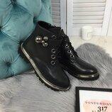 Демисезонные ботинки на шнуровке, премиум качество