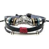 Стильный плетёный кожаный многослойный браслет в винтажном стиле
