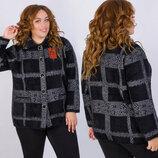 Женская тёплая вязаная куртка-кардиган в больших размерах 004 Пушистик Ангора Клетка в расцветках