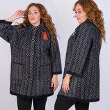 Тёплый женский вязаный кардиган-пальто в больших размерах 003 Пушистик Ёлочка в расцветках