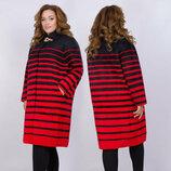 Женское тёплое пальто в больших размерах 011 Лама Полоска Брошь в расцветках