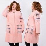 Женское тёплое пальто в больших размерах 016 Лама Карманы Клетка Брошь в расцветках