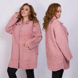 Женское тёплое пальто в больших размерах 021 Лама Реглан Клапаны в расцветках
