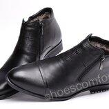 Классические кожаные мужские ботинки Strado M 30 - 2403 на натуральной цигейке черные
