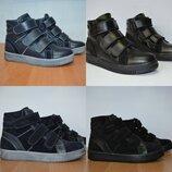 Зимние кожаные ботинки на липучке 32-39р