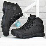 Ботинки зимние мужские термо кожаные трекинговые Restime черные с защитой