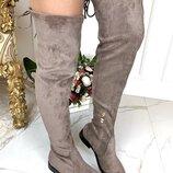 Женские замшевые сапоги ботфорты без каблука