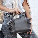 женская кожаная сумка трансформер Polina & Eiterou чёрная серая красная жіноча шкіряна чорна сіра