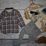 18 месяцев 80 см Очень модная теплая фирменная рубашка клетка для мальчика на меху фуфайка