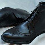 Мужские зимние ботинки броги на натуральной цигейки ботинки с вышивкой перфорацией сапоги
