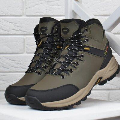 Ботинки мужские зимние термо кожаные трекинговые Restime Waterproof хаки