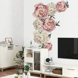 3D интерьерные виниловые наклейки на стены Пионы - цветы 90-60 см 6 в детскую .Обои