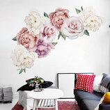 3D интерьерные виниловые наклейки на стены Пионы - цветы 2 листа 60-30 см 8 в детскую .Обои