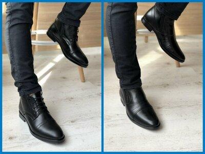 Зимние мужские классические ботинки натуральная кожа шнурок и молния , крепкие