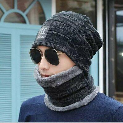 Мужская зимняя вязаная шапка шарф NC чёрная код 91