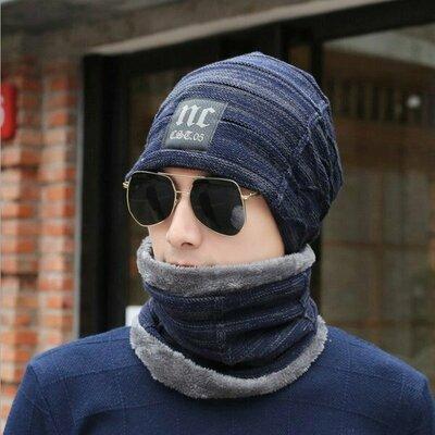 Мужская зимняя вязаная шапка шарф NC синяя код 91