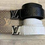 Ремень кожаный в стиле Louis Vuitton, Луи Виттон, унисекс, чорный и белый