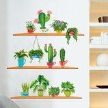 3D интерьерные виниловые наклейки на стены Набор Кактусов - Растений 2 листа 90-30 см в детскую 2