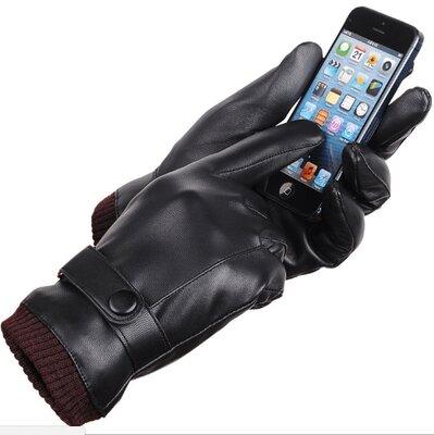 Перчатки мужские для сенсорных экранов утепленные black код 17