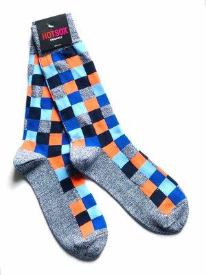 Яркие, стильные, актуальные, модные высокие мужские носки Hot Sox, Клетка, 40-45