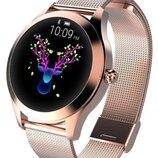 Женские смарт часы smart watch KW10 Gold. Часы с фитнес функциями измерения давления и пульса