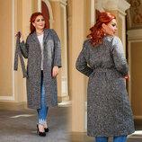 Женское стильное пальто до больших размеров 41333 Твид Классика Пояс