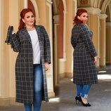Женское стильное пальто до больших размеров 41332 Кашемир-Шерсть Клетка Классика в расцветках
