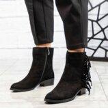 Ботинки деми, натуральная замша, черные