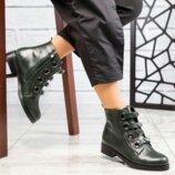 Ботинки стильные, натуральная кожа, олива