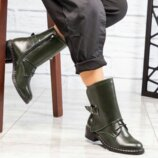 Ботинки, натуральная кожа, олива