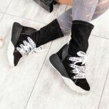 Ботинки, натуральная замша, с эластичным верхом, черные
