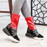 Ботинки, натуральная замша, с эластичным верхом, черные с красным