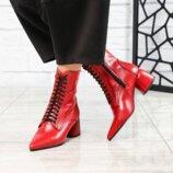 Ботинки, натуральная кожа, красные