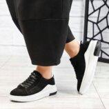 Кроссовки, натуральная замша, черные