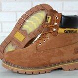 Топ качество Caterpillar CAT нат нубук мех ботинки зимние женские и мужские, р 36-45, YOF11655