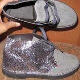 сірі черевички замша Made in Italy р36 нові блискітки