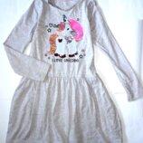 Платье с длинным рукавом Единорог 6-8 лет H&M р.47,дл.63