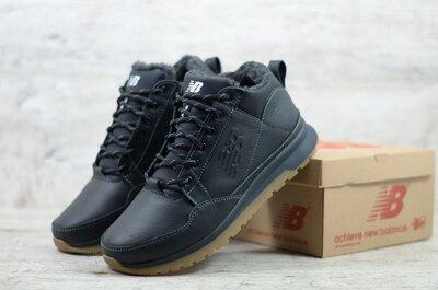 Топ качество. Зима. Мужские кожаные зимние кроссовки ботинки New balance черный 100 чер