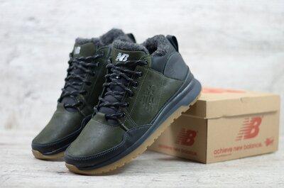 Топ качество. Зима. Мужские кожаные зимние кроссовки ботинки New balance хаки зеленый 100 зел