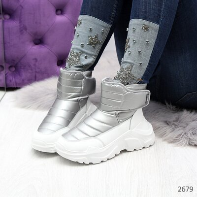 Женские зимние ботинки дутики на танкетке