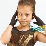 Перчатки детские черные атласные короткие бальные от 2х лет