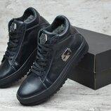 Мужские кожаные зимные ботинки