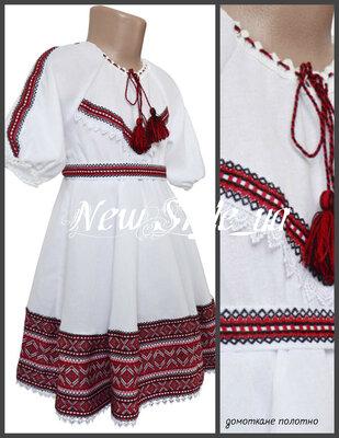 26-34, Вишита сукня для дівчинки із домоткано полотна, Сукня вишиванка дитяча, Платье Вышиванка