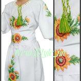 26-34, Сукня вишиванка для дівчинки, соняхи. Платье Вышиванка, детская вышиванка