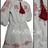26-34, Льон габардин, Комплек для дівчинки блузка, спідничка, Костюм для девочки. вышиванка детская