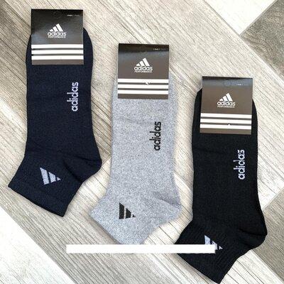 ORIGINAL - Носки мужские демисезонные спортивные х/б Adidas, средние, ассорти,12 пар