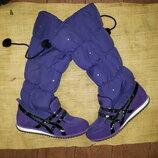 26-27 см сапоги зима Onitsuka Tiger фиолетовые, очень теплые, не промокают состояние новых высота от