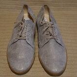 Эффектные формальные серебристые кожаные туфли цвета Gabor comfort Германия 8 р.
