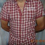 Стильная двуслойная фирмекнная шведка рубашка сорочка бренд s. Oliver.л .