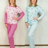 Пижама трикотажная теплая подростковая с начесом на баечке начес Хлопок 146-152-158-164-170